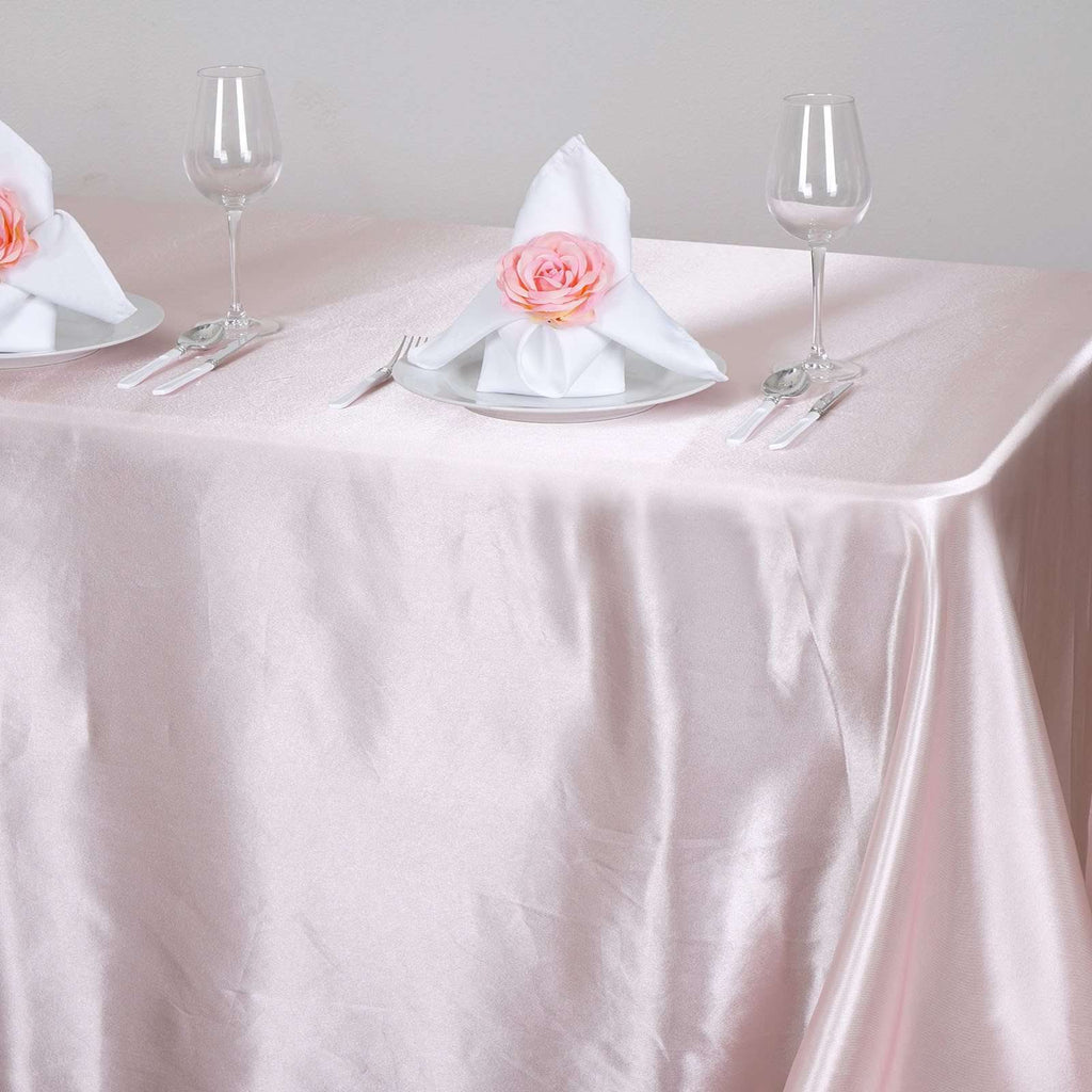 "90x156""  Satin Rectangular Tablecloth- Rose Gold 