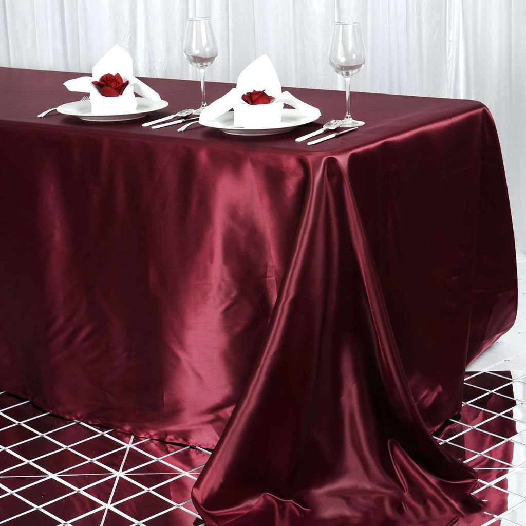"90x156"" BURGUNDY Wholesale SATIN Banquet Linen Wedding Party Restaurant Tablecloth"