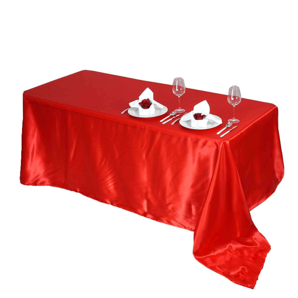 "90x156"" RED Wholesale SATIN Banquet Linen Wedding Party Restaurant Tablecloth"