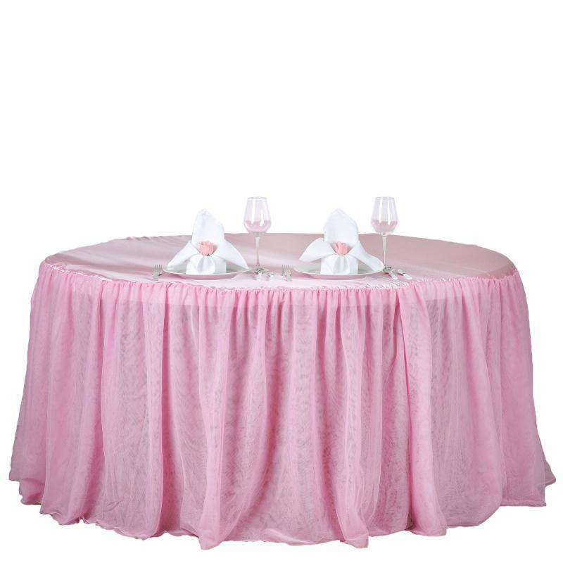 "120"" Pink 3 Layer Tulle Tutu Satin Pleated Table Skirt For Wedding Party Event"