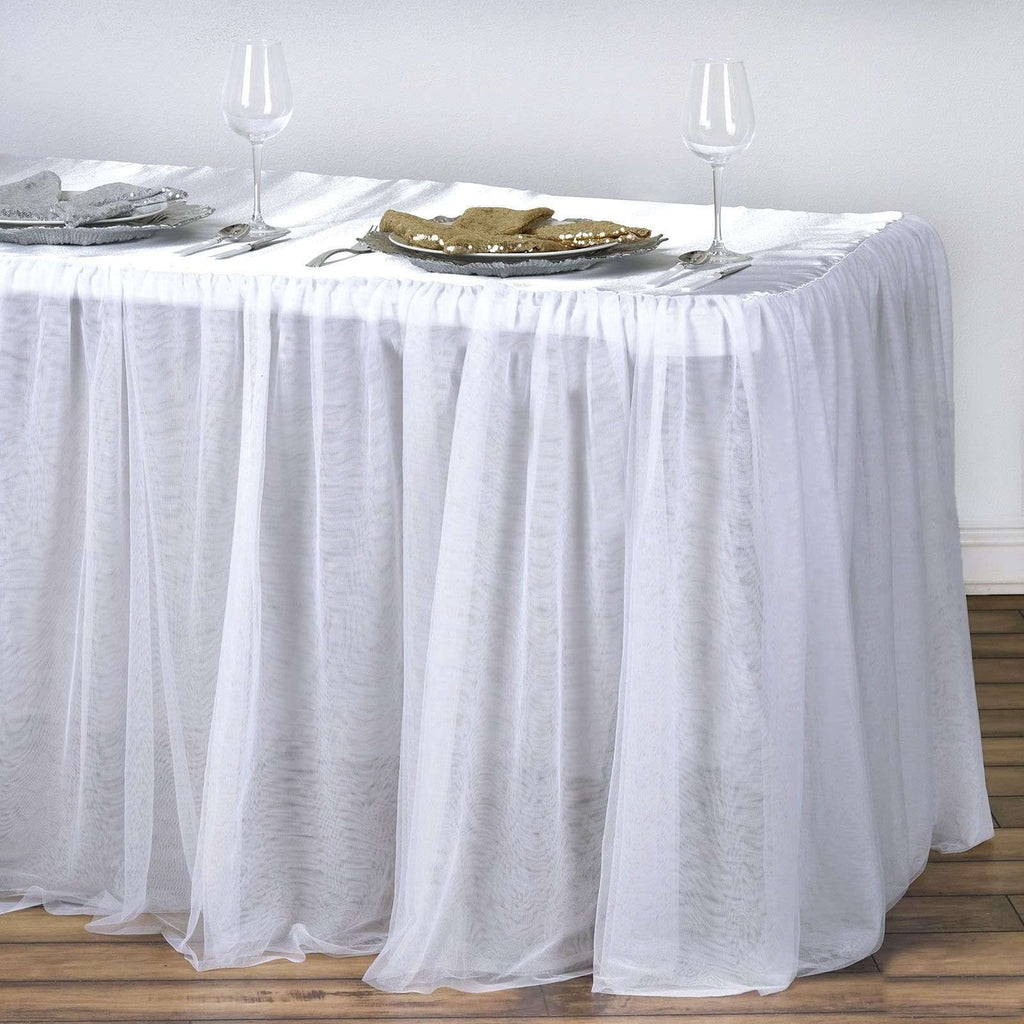 8FT White 3 Layer Tulle Tutu Satin Pleated Table Skirt For Wedding Party Event