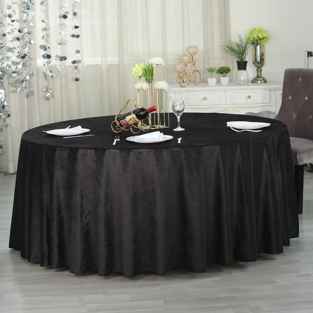 "120"" Premium Velvet Round Tablecloth - Black"