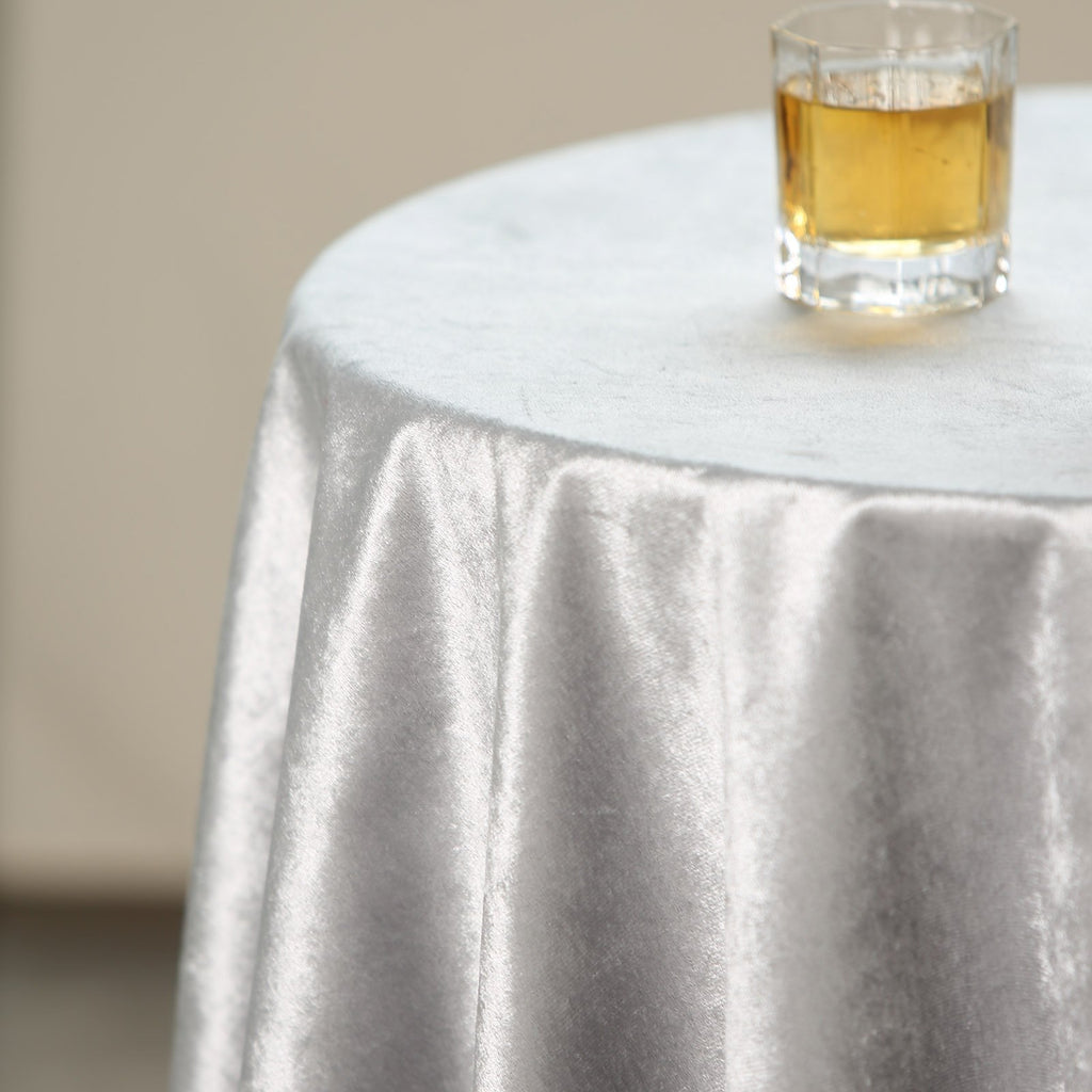 54'' x 54'' | Silver | Premium Velvet Square Tablecloth