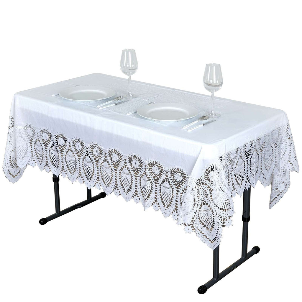 "54""x72"" Eco-Friendly White 0.6mil Thick Disposable Waterproof Lace Vinyl Tablecloth Protector Cover"