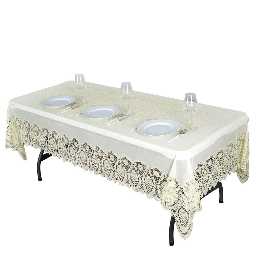 "60""x108"" Eco-Friendly Ivory 0.6mil Thick Disposable Waterproof Lace Vinyl Tablecloth Protector Cover"