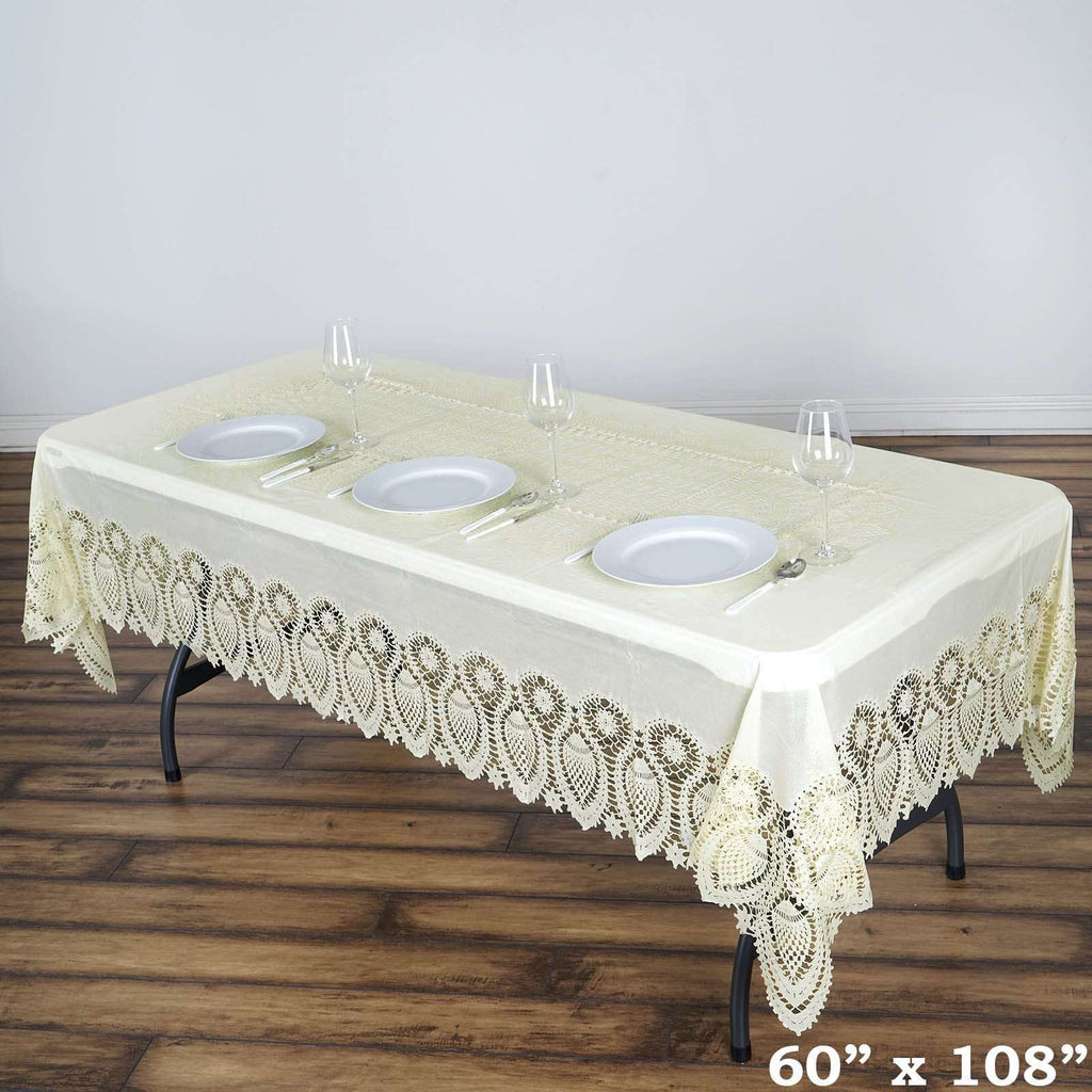 "60x108"" Ivory 0.6 mil Thick Crochet Lace Vinyl Eco-Friendly Tablecloth"