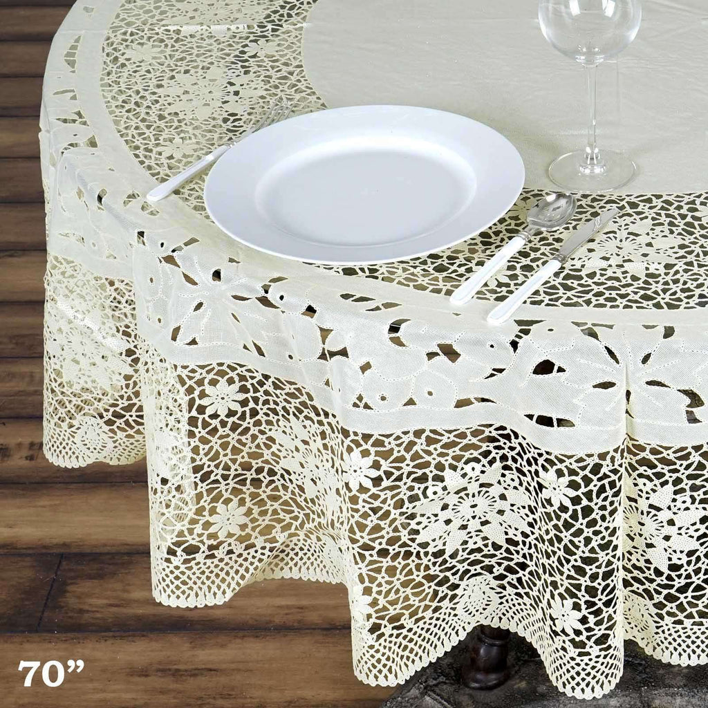 "70"" Ivory 0.6 mil Thick Lace Vinyl Eco-Friendly Round Tablecloth Protector Cover"