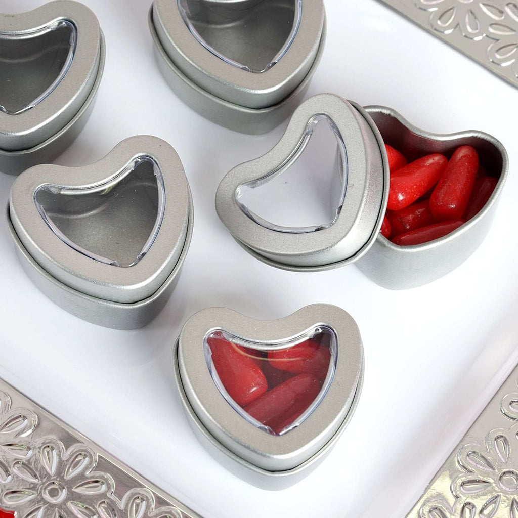 10 Pack Silver Heart Favor Tins With Clear Lid