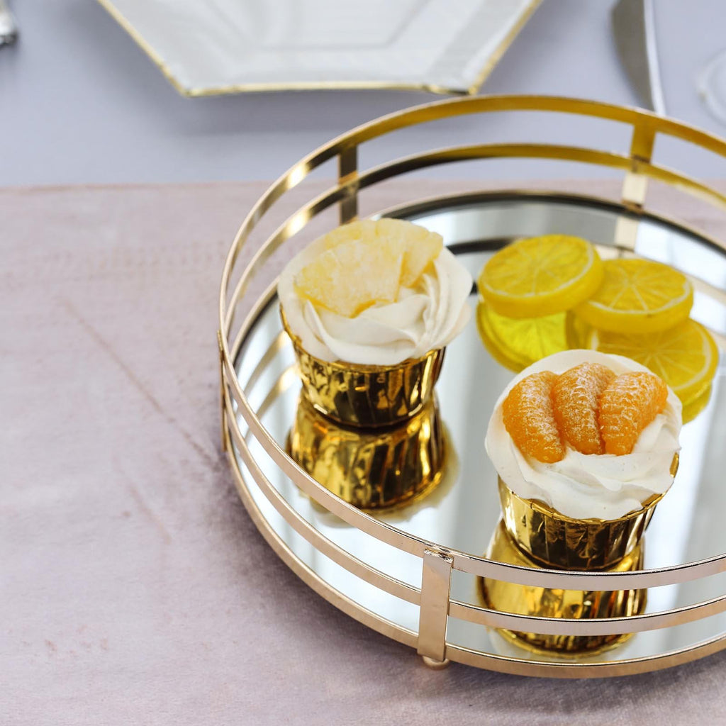 Set of 2 | Gold Metal Decorative Serving Trays | Round Mirror Trays - 13.5"
