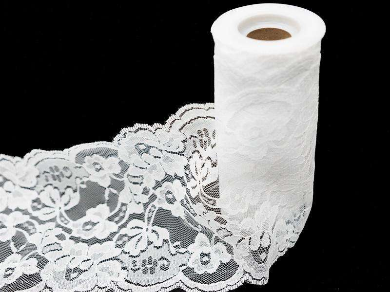 "5.5"" x 10yd Lace Tulle Roll - White"