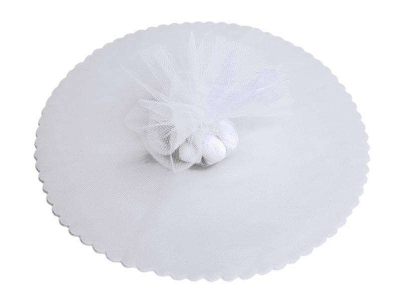 "9"" Tulle Circle Wrap - White/25pk"