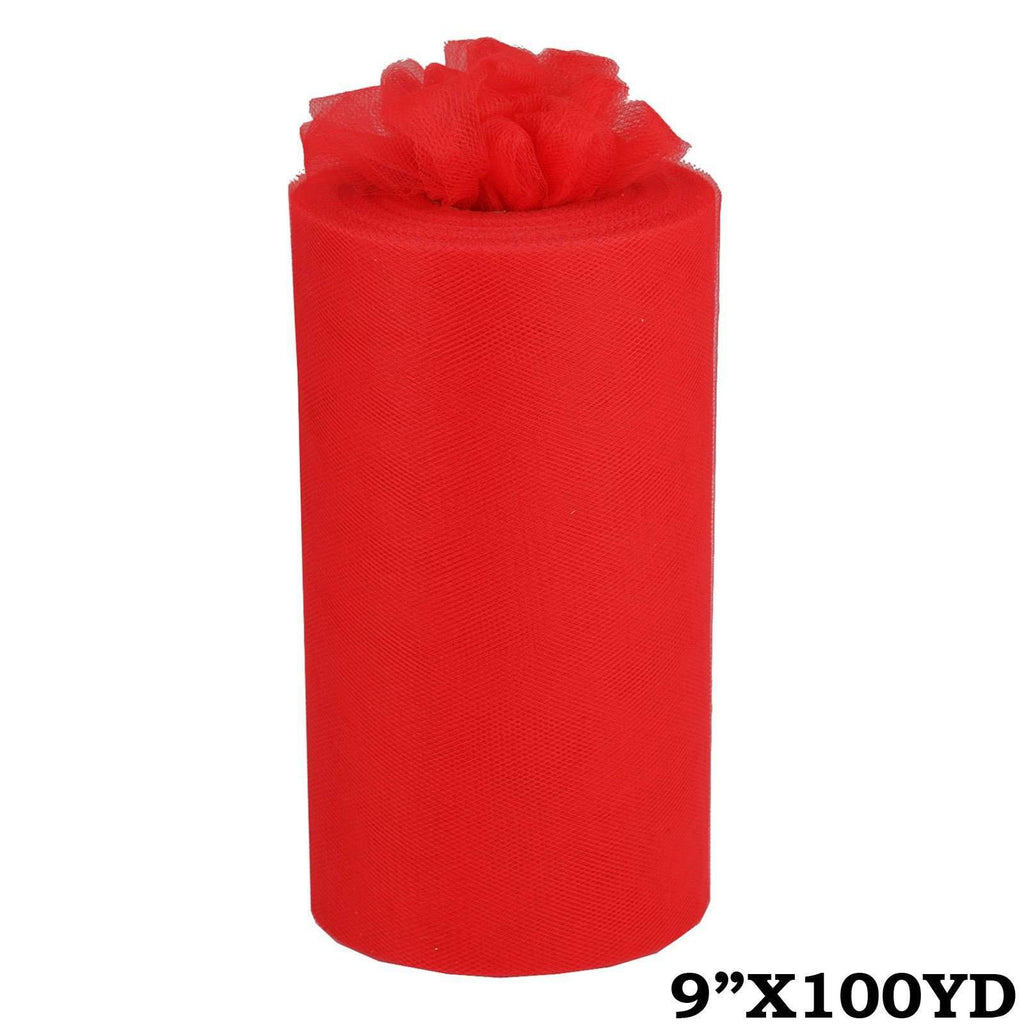 "9"" x100yd Tulle Rolls - Red"