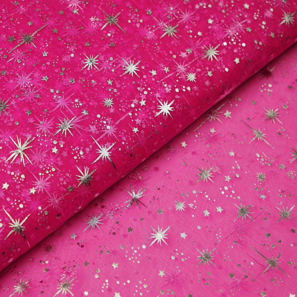 "54""x15 Yards Fushia Organza Tulle Fabric Bolt With Hot Foil Stamped Star Design"