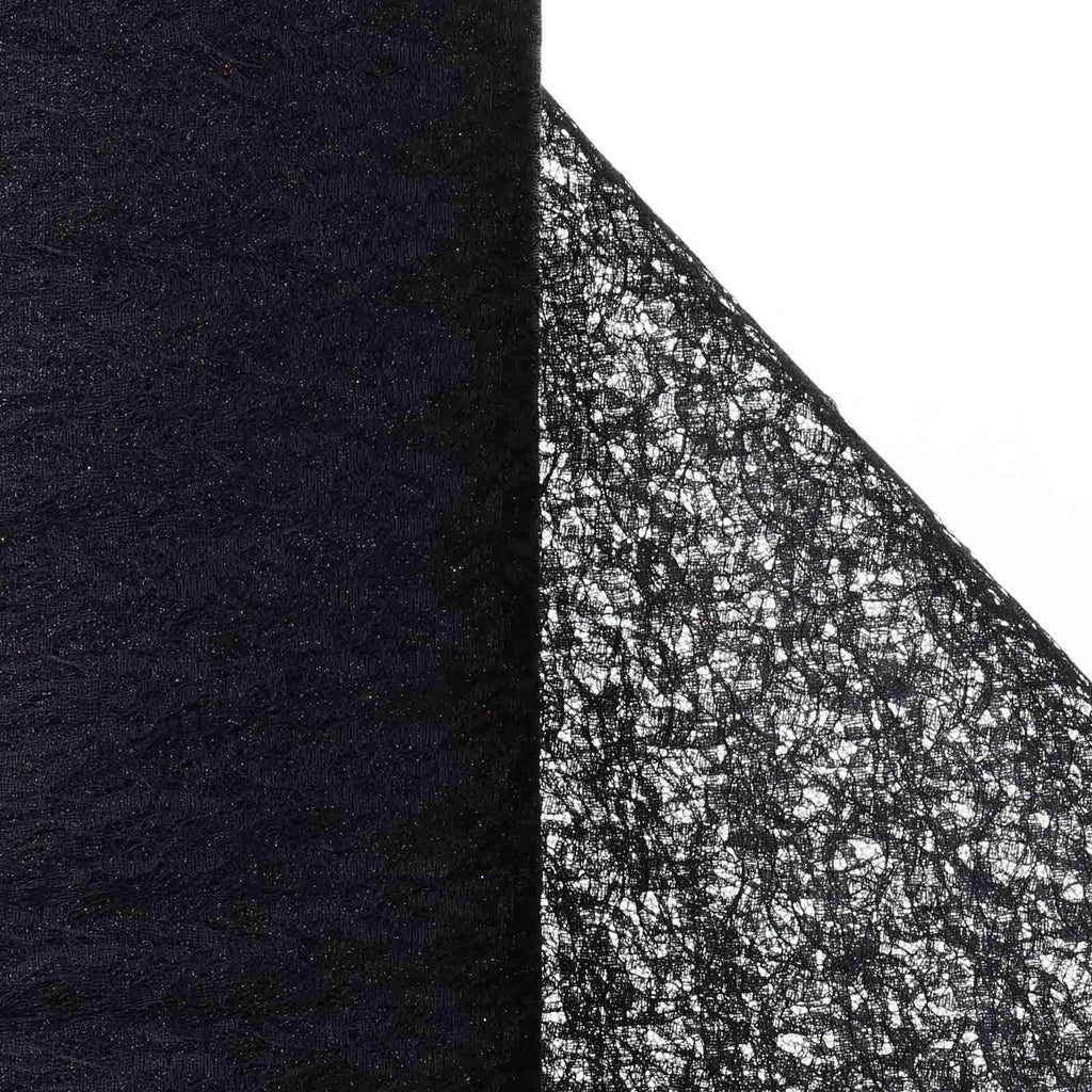 "Floral Shimmer Lace Glitter Tulle Fabric Roll-Black- 54""X15 YARDS"