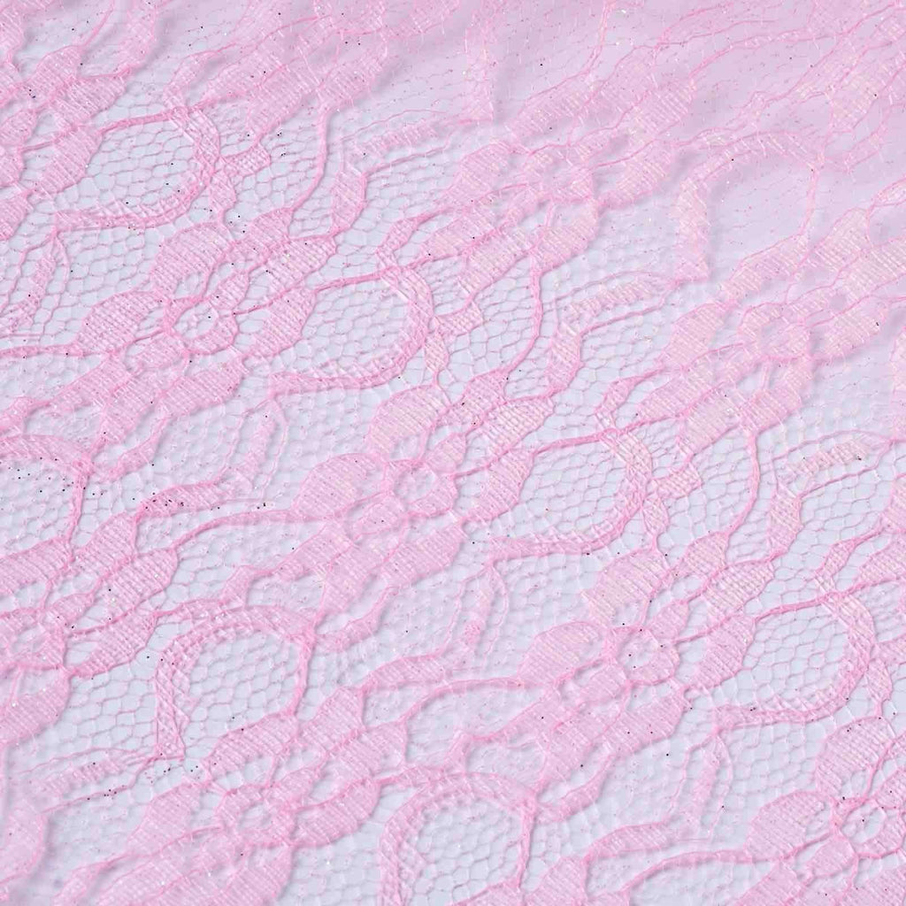 "Floral Shimmer Lace Glitter Tulle Fabric Roll-Pink- 54""X15 YARDS"