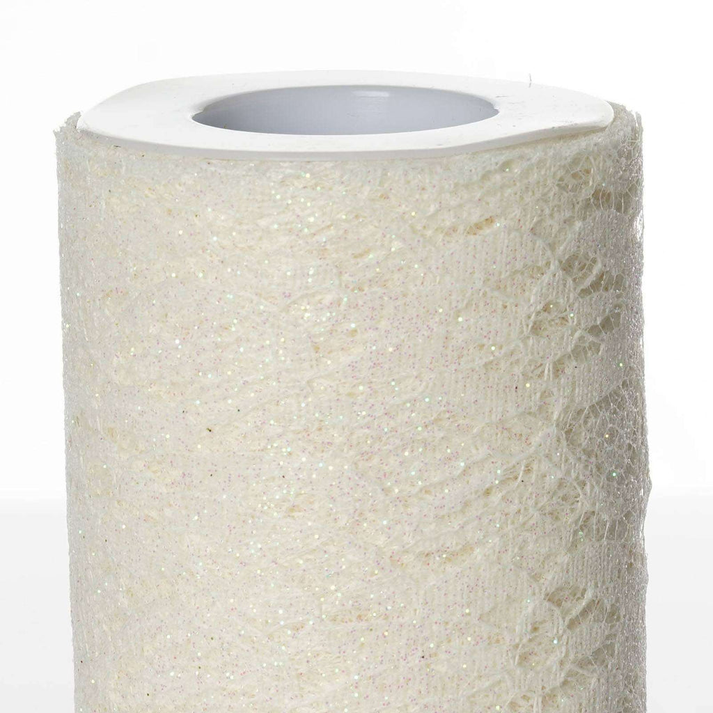 "Floral Shimmer Lace Glitter Tulle Fabric Roll-Ivory- 6""X10 YARDS"