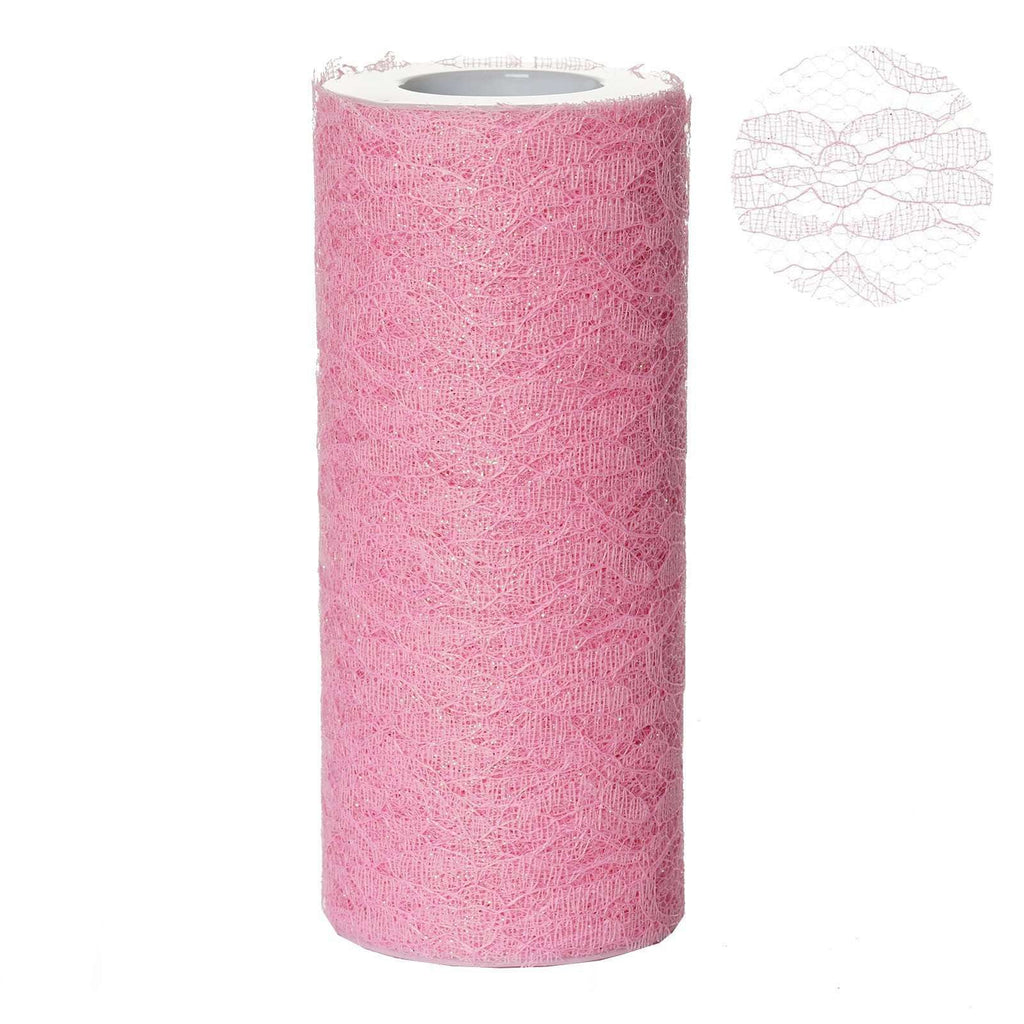 "Floral Shimmer Lace Glitter Tulle Fabric Roll-Pink- 6""X10 YARDS"
