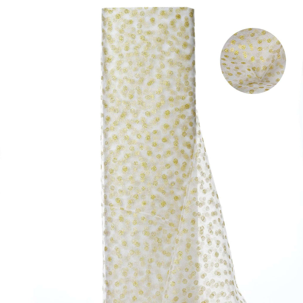 Glittered Polka Dot Tulle Fabric - White/Gold - 54 x 15 Yards