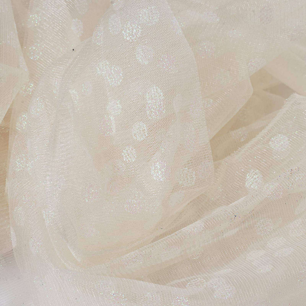 Glittered Polka Dot Tulle Fabric - Ivory - 54 x 15 Yards