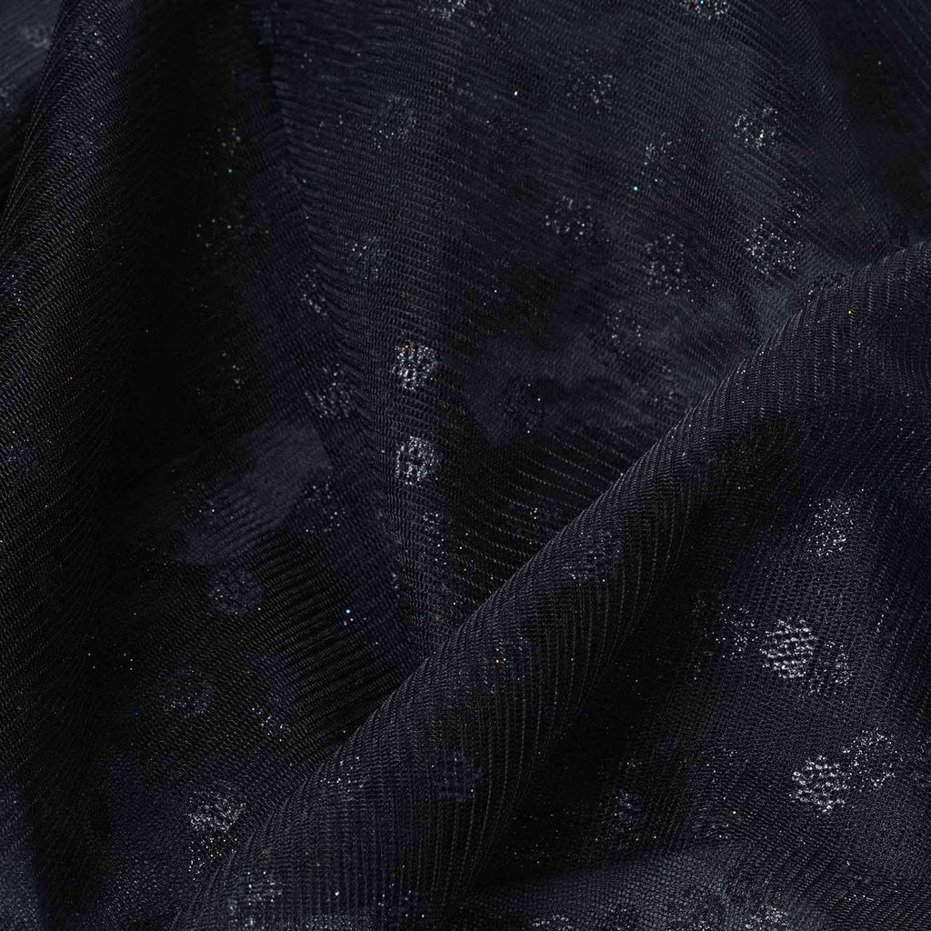 Glittered Polka Dot Tulle Fabric - Black- 54 x 15 Yards