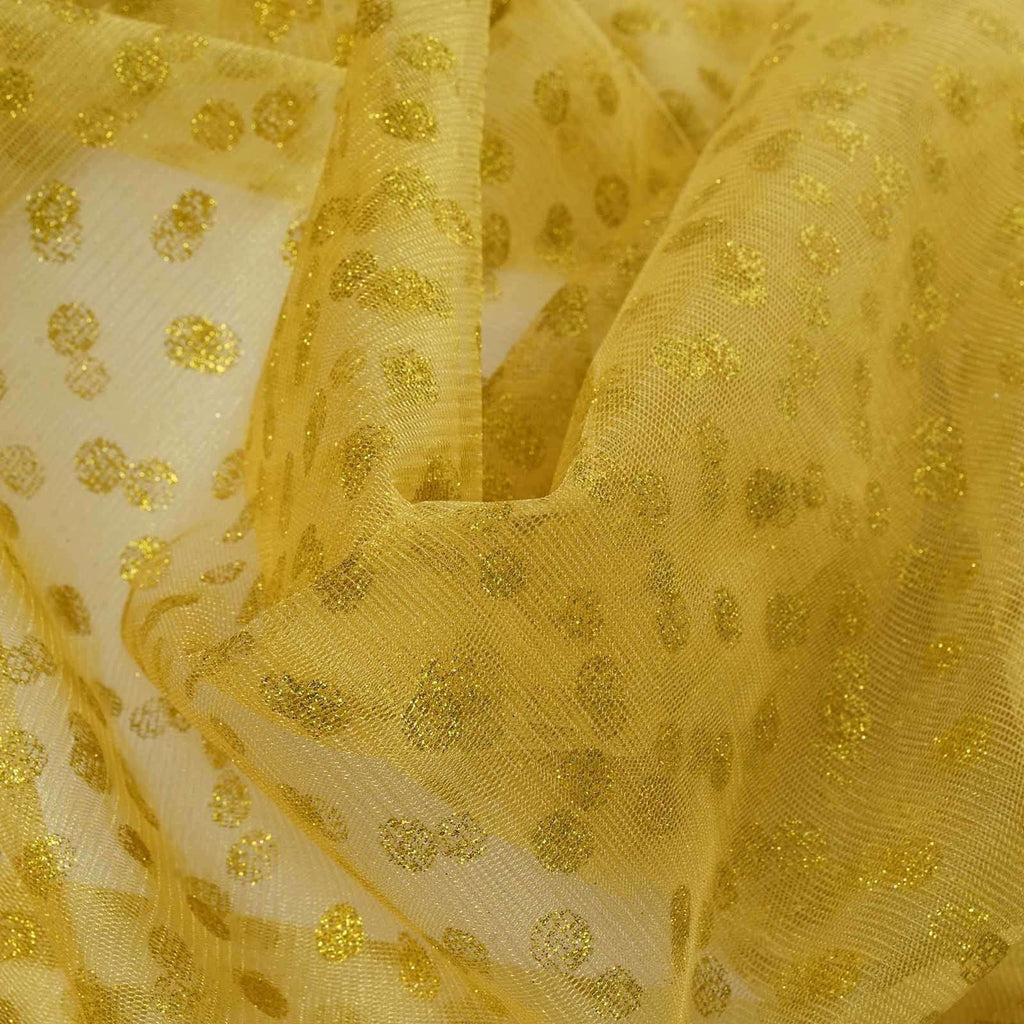 Glittered Polka Dot Tulle Fabric -Gold- 54 x 15 Yards