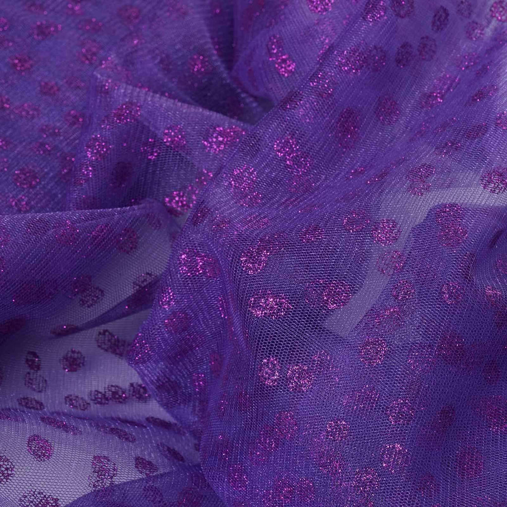 Glittered Polka Dot Tulle Fabric -Purple- 54 x 15 Yards