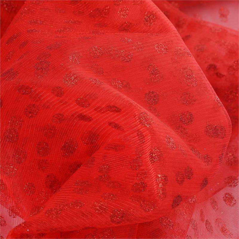 Glittered Polka Dot Tulle Fabric -Red- 54 x 15 Yards
