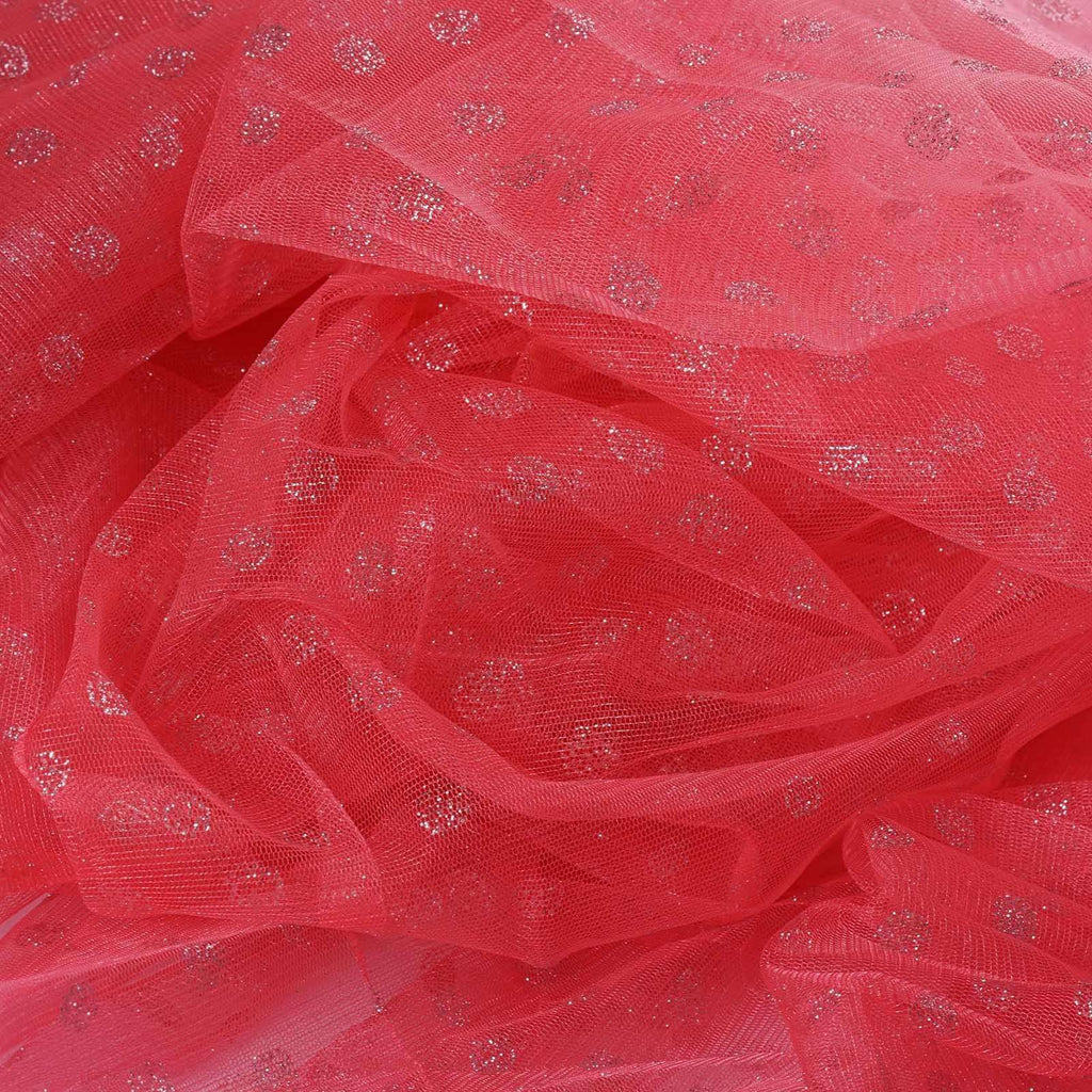Glittered Polka Dot Tulle Fabric -Rose Quartz- 54 x 15 Yards