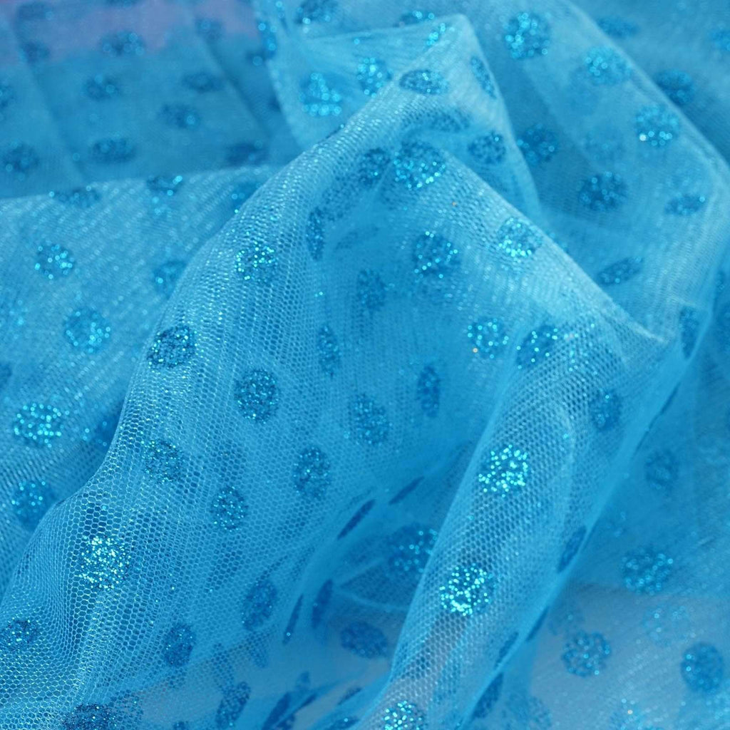 Glittered Polka Dot Tulle Fabric -Turquoise- 54 x 15 Yards