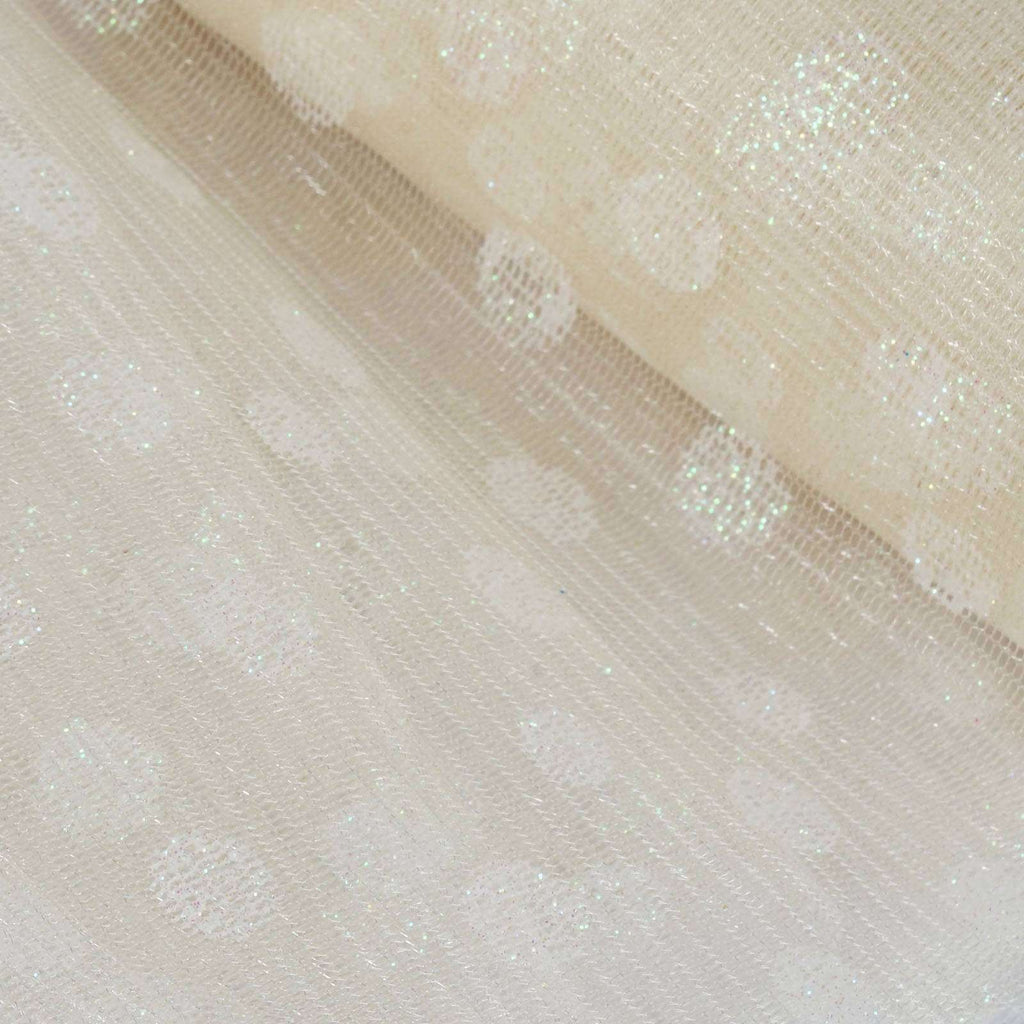 Glittered Polka Dots Tulle - Ivory - 6x10 Yards