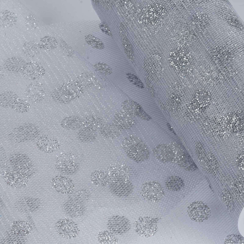 Glittered Polka Dots Tulle - Silver/Silver- 6x10 Yards