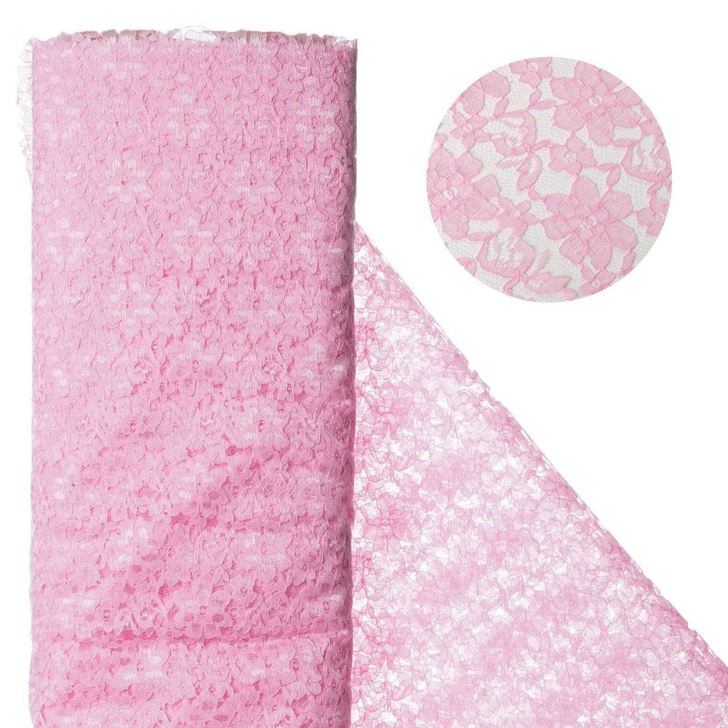 "Beguiling Blossomy Lace Fabric Bolt - Pink- 54"" x 15 YARDS"