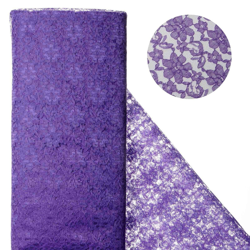 "Beguiling Blossomy Lace Fabric Bolt - Purple- 54"" x 15 YARDS"