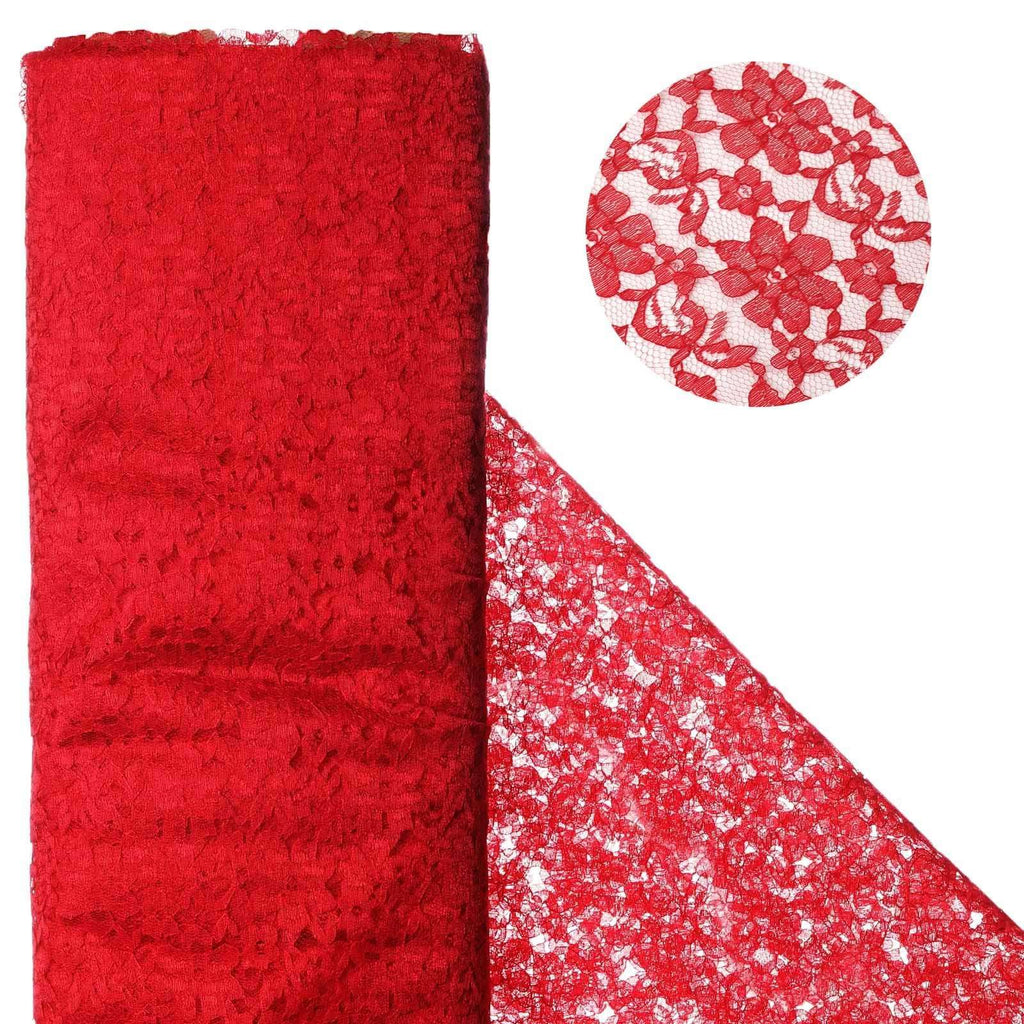 "Beguiling Blossomy Lace Fabric Bolt - Red- 54"" x 15 YARDS"