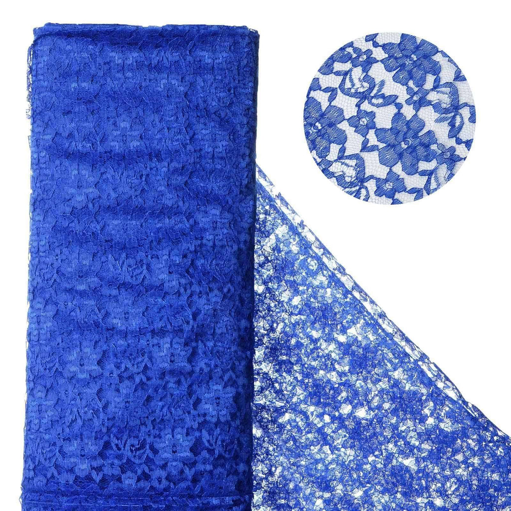 "Beguiling Blossomy Lace Fabric Bolt - Royal Blue- 54"" x 15 YARDS"