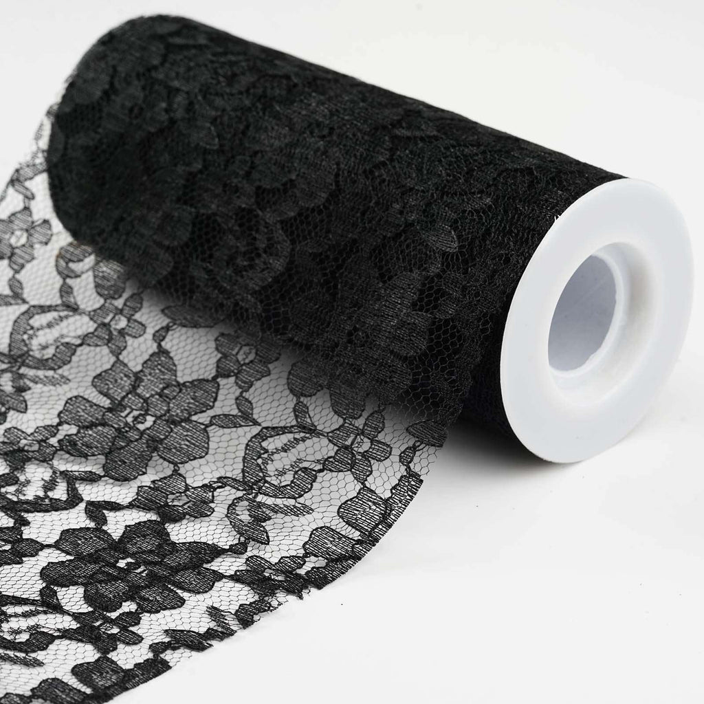 "Festive Floral Lace Fabric Roll, color- Black- 6""X10 YARDS"