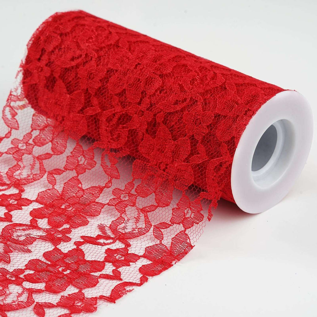 "Festive Floral Lace Fabric Roll - Red - 6""X10 YARDS"