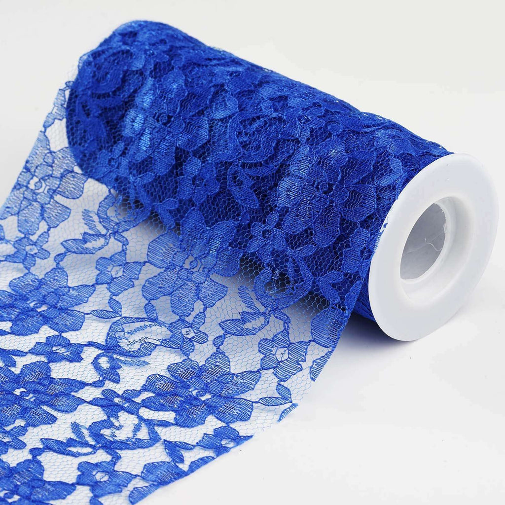 "Festive Floral Lace Fabric Rolls - Royal Blue - 6""X10 YARDS"