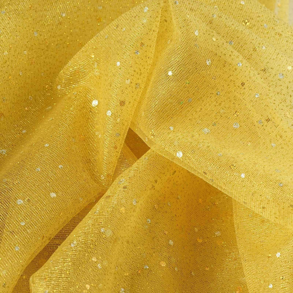 "Sparkly Sequin Dot Sheer Tulle Fabric - Gold- 54""x15 Yards"