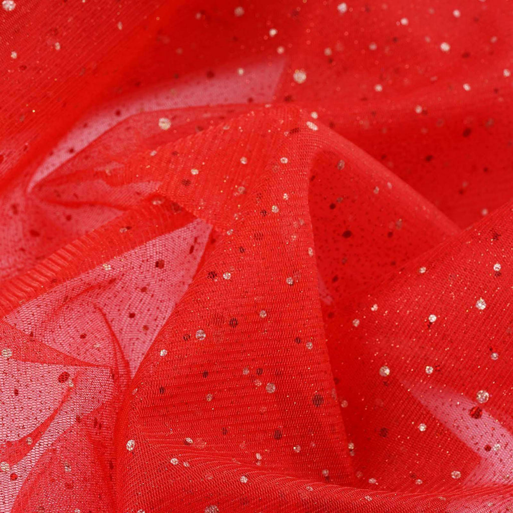 "Sparkly Sequin Dot Sheer Tulle Fabric - Red- 54""x15 Yards"