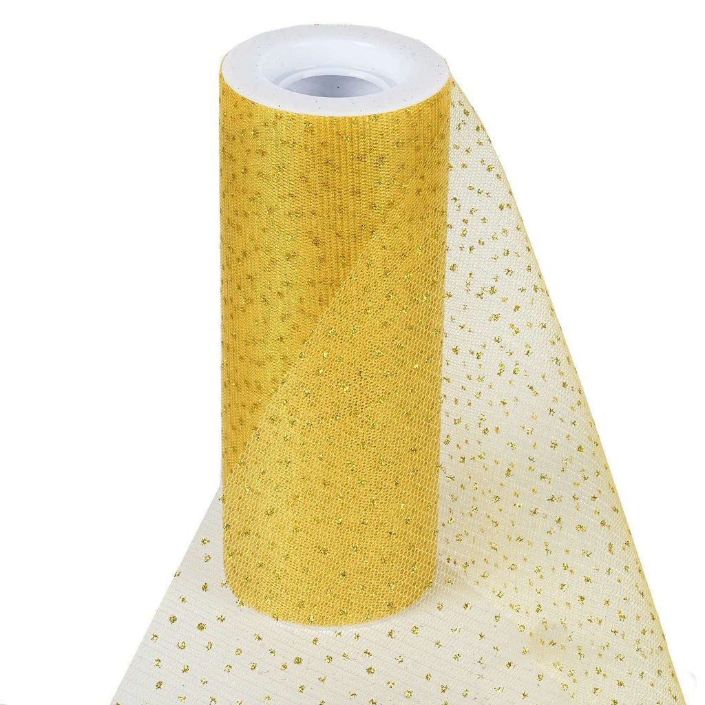 "Premium Glitter Sparkle Dot Tulle Fabric - Gold- 6""x10 Yards"