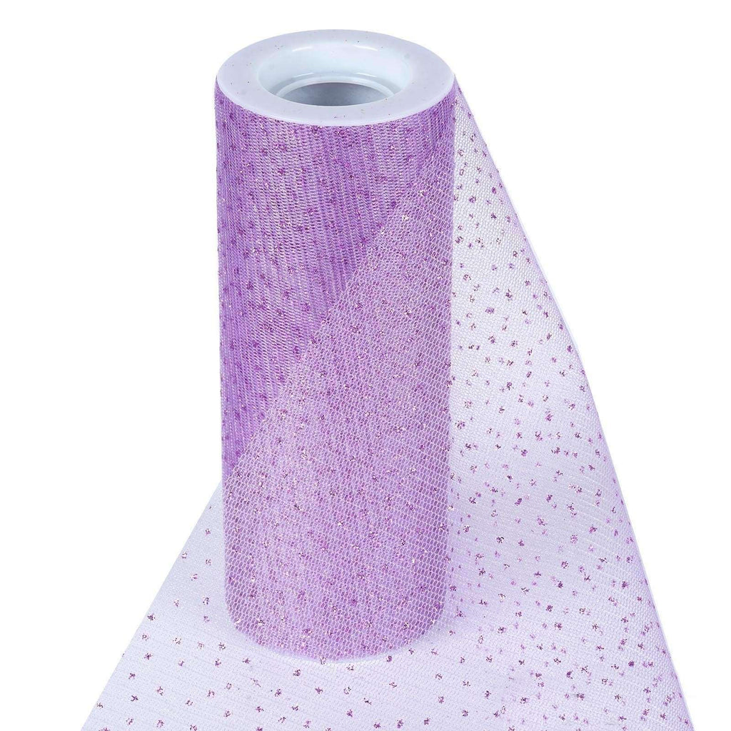 "Premium Glitter Sparkle Dot Tulle Fabric - Lavender- 6""x10 Yards"