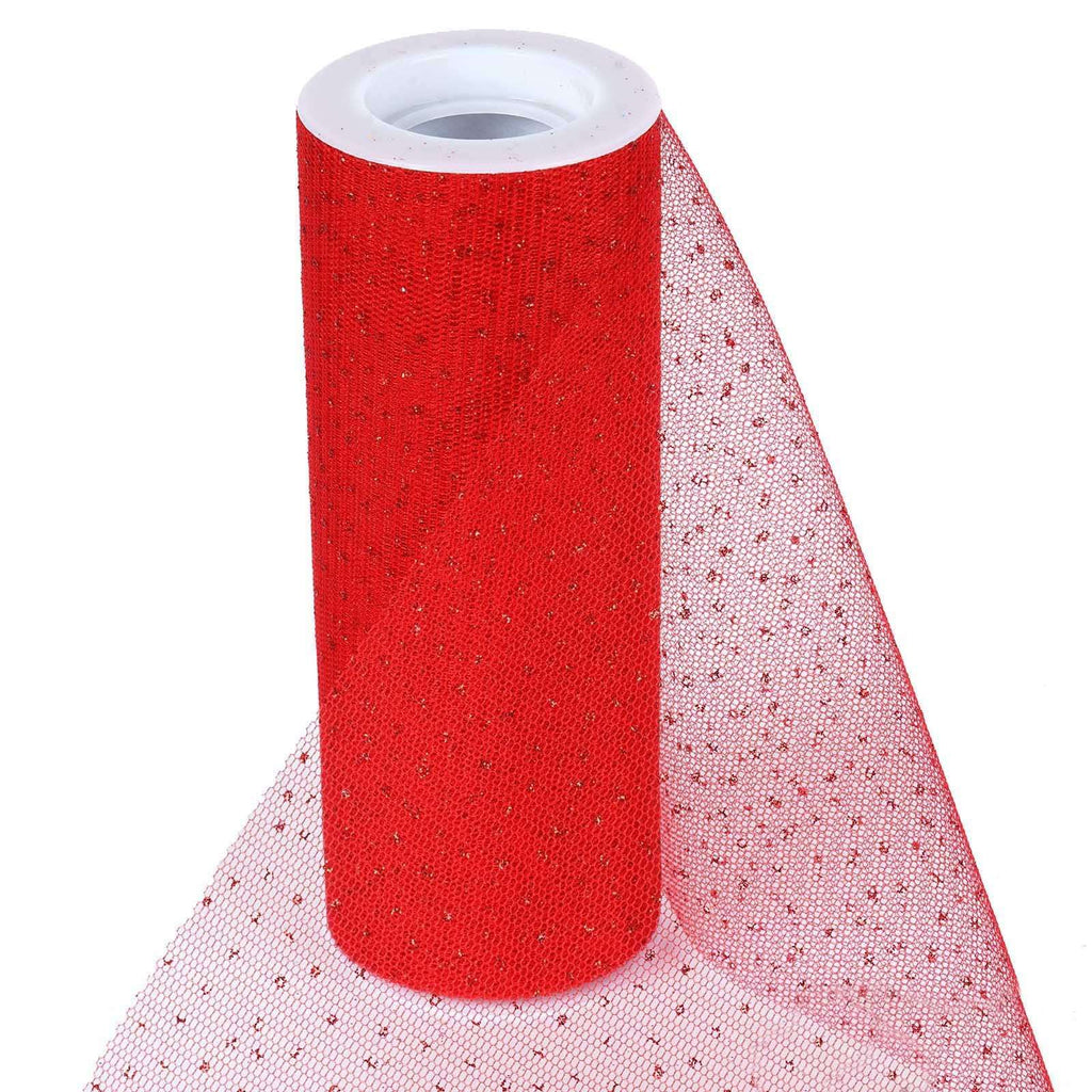 "Premium Glitter Sparkle Dot Tulle Fabric - Red- 6""x10 Yards"