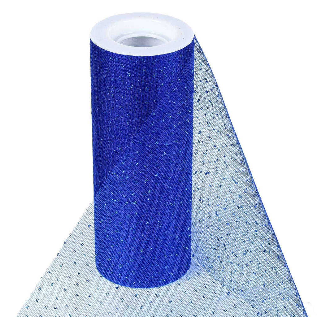 "Premium Glitter Sparkle Dot Tulle Fabric - Royal Blue- 6""x10 Yards"