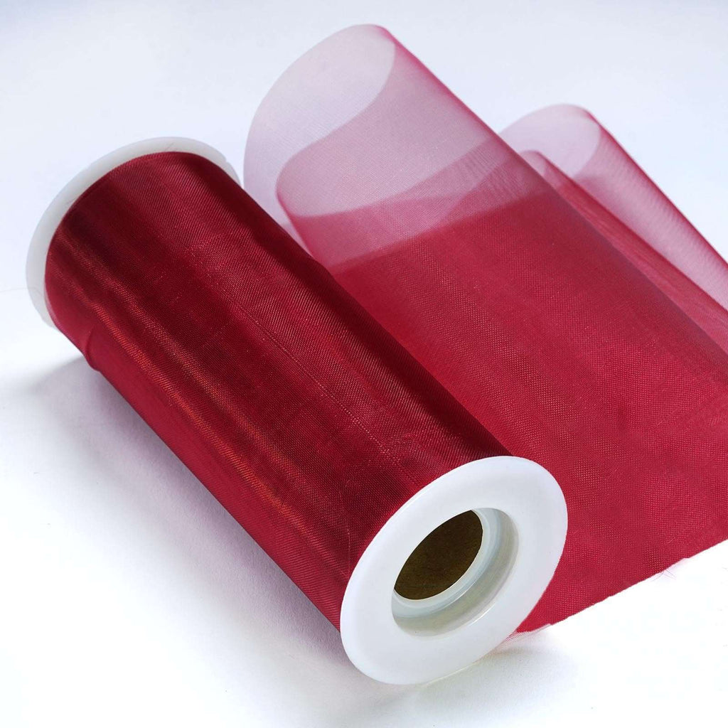 "Sheer Organza Fabric Bolt by Yard For Wedding Bows Sash Table Runner Party Decor - Burgundy - 6""x20 Yards"