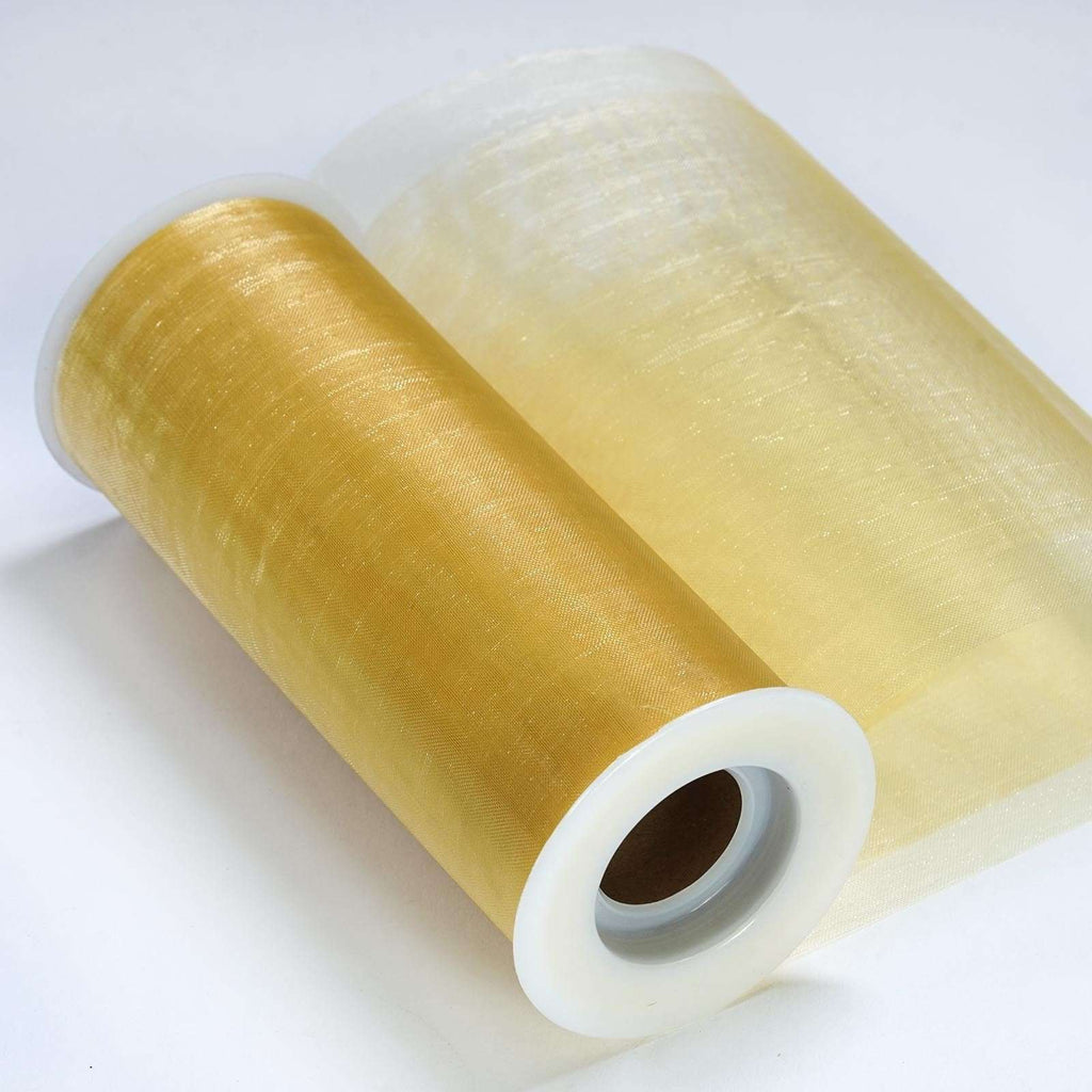"Sheer Organza Fabric Bolt by Yard For Wedding Bows Sash Table Runner Party Decor - Gold - 6""x20 Yards"