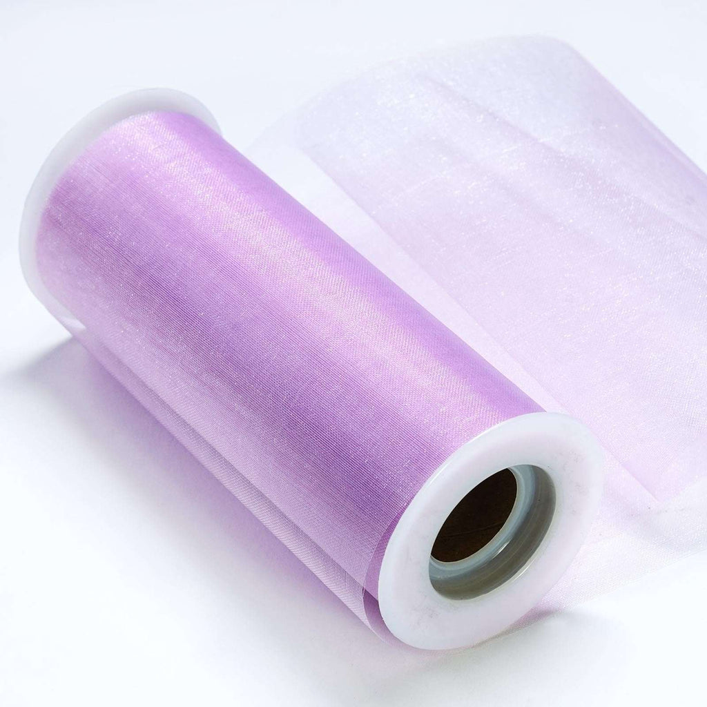 "Sheer Organza Fabric Bolt by Yard For Wedding Bows Sash Table Runner Party Decor - Lavender - 6""x20 Yards"