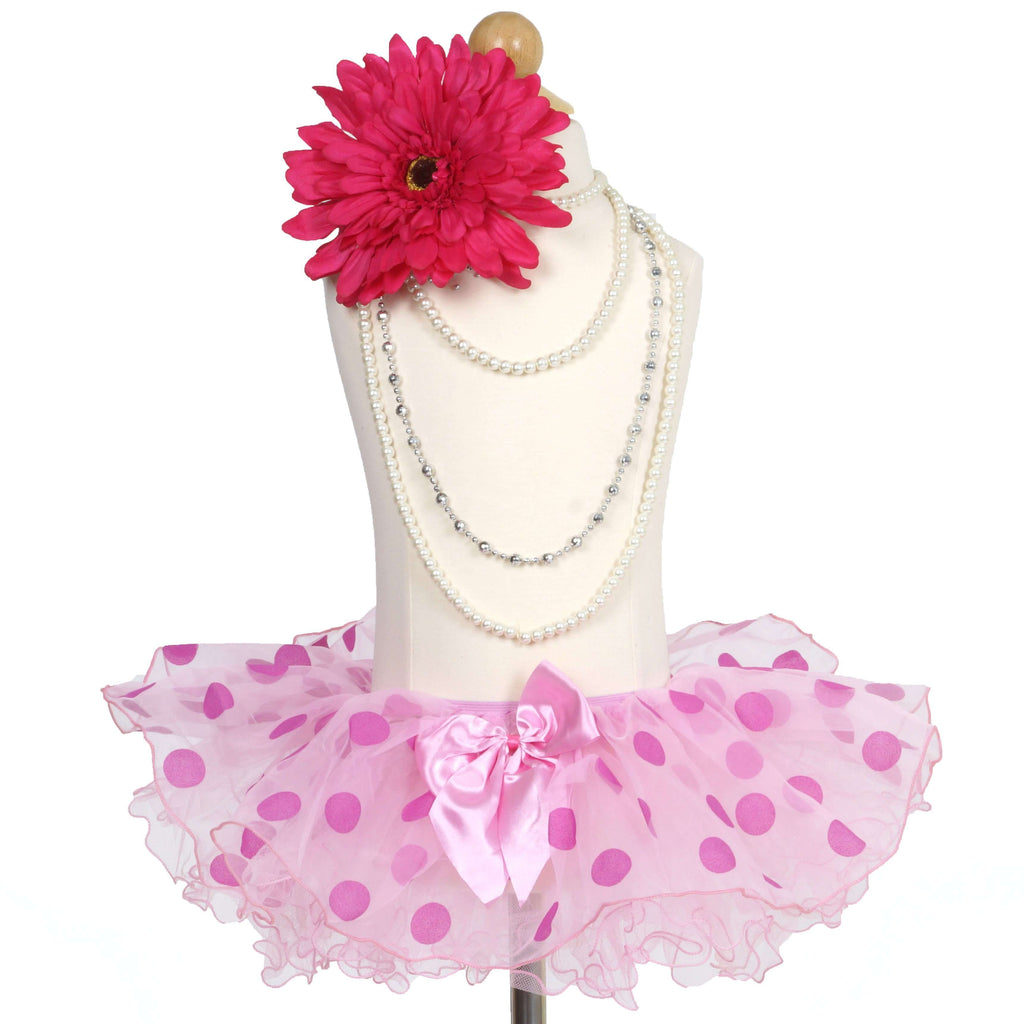 Fluffy Pink & Fuchsia Polka Dots Girls Tutu Skirt