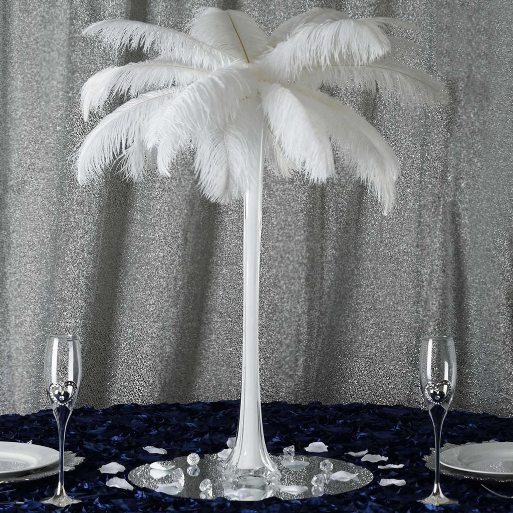 "6 Pack | 24"" White Eiffel Tower Glass Flower Vase Table Centerpiece Decor"