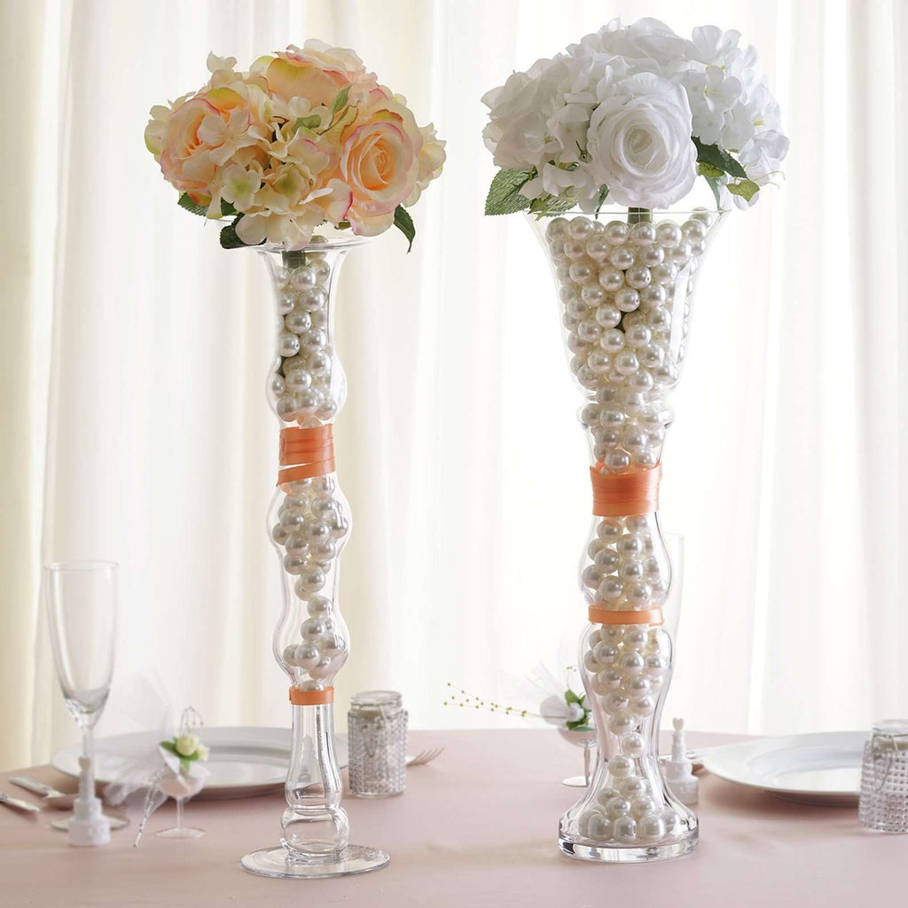 "4 Pack | 20"" Pillar Trumpet Glass Vase Flower Ball Centerpiece Candle Holder"